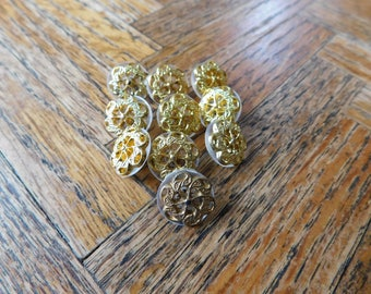 Vintage Shiny Gold and transparent buttons (lot of 10)
