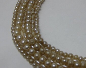 Vintage Necklace, Pearl Collar, Vintage Faux Pearls, Beaded Collar, Pearl Necklace