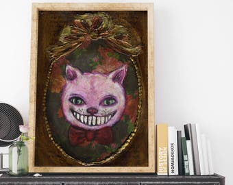 Danita Cheshire cat Alice wonderland mixed media surreal pop painting / whimsical folk art illustration / home decor / weird animal
