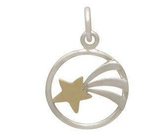 Shooting Star Charm Sterling Silver and Bronze - Celebration Gift for Her - Back to School Mixed Metals - DIY Jewelry - Add to your necklace