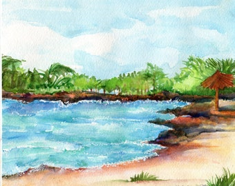 Seascape Aruba watercolor painting original beach art 8 x 10 Malmok Beach, Aruba original watercolor painting, rocky shore, SharonFosterArt
