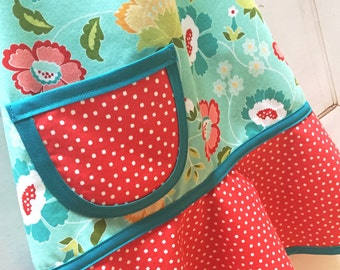 Child Apron, Little Girls Apron, Kids Apron, Toddler Apron, Red, Aqua, Yellow Floral Apron  - TEAL RED FLORAL