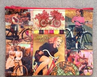 She Had Traveled Far  Cosmetic Bag Retro Girl on Bike
