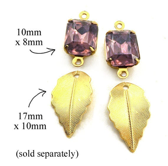 golden brass leaf charms and amethyst vintage glass jewels in my online jewelry supplies shop