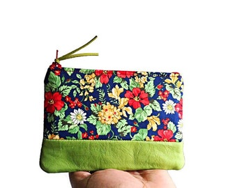 Floral Green Leather Coin Purse, Small Wallet, Leather Purse, Change Purse, Leather Coin Pouch