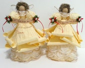 Reserved for wozniak5454 Two Ivory Angel Tree Topper/decorations With Sea Shell decorations