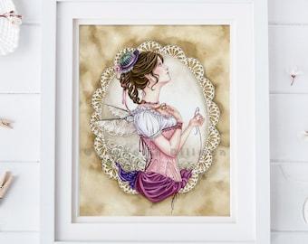 Sewing art print | Seamstress | Fairy art | 8x10 | daydreamer | Victorian costume | watercolor illustration