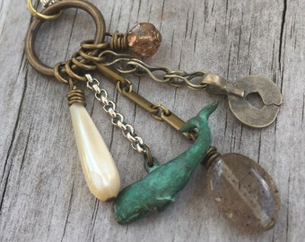 WHALE TOTEM Spirit Animal Necklace with MOONSTONE gemstone, Gypsy Silver, Antique Brass and Silver chain
