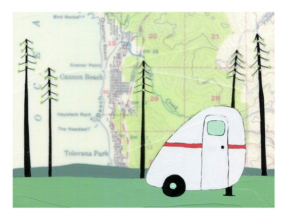 NEW // Haystack Rock Card // Cute Everyday Card // Map Card // Little Camper Card // Oregon Card // Blank Card // Cannon Beach Card