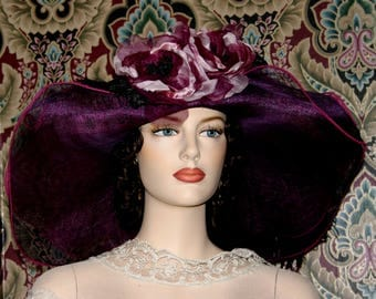 Kentucky Derby Hat Ascot Hat - Mademoiselle Aubergine - ONE of a KIND
