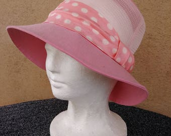 Vintage 1960s Sun Hat Hot Pink Polka Dot 60s Golf Hat Sz L