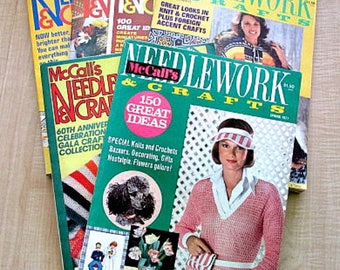6 McCall's Needlework & Crafts Vintage Magazines - 1970's 1980 Craft Magazine - Knitting Crochet Sewing Quilting Embroidery Patterns