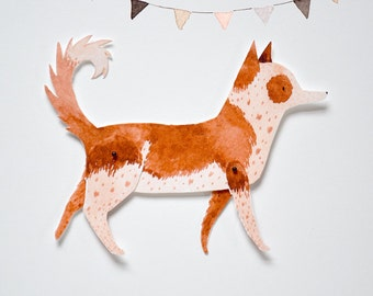 Dog Articulated Paper Doll Printable Instant Download PDF