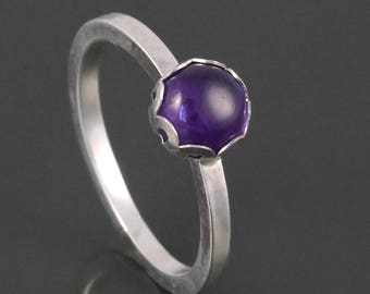 Amethyst Stacking Ring. Sterling Silver. February Birthstone. Genuine Gemstone. Ready to Ship. Size 5.5. s17r002