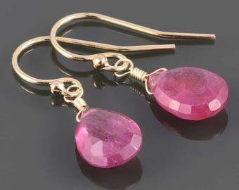 Genuine Ruby Earrings. Gold Filled Wires. July Birthstone. Lightweight Earrings. s17e022
