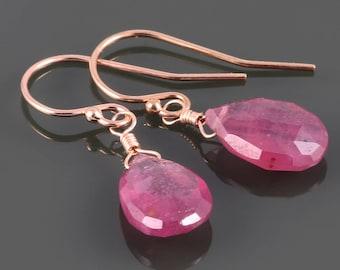 Genuine Ruby Earrings. Rose Gold Filled Wires. July Birthstone. Lightweight Earrings. s17e023