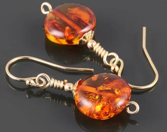 Baltic Amber Earrings. Gold Filled Ear Wires. Genuine Amber. Lightweight Earrings. Gift for Her. s17e037