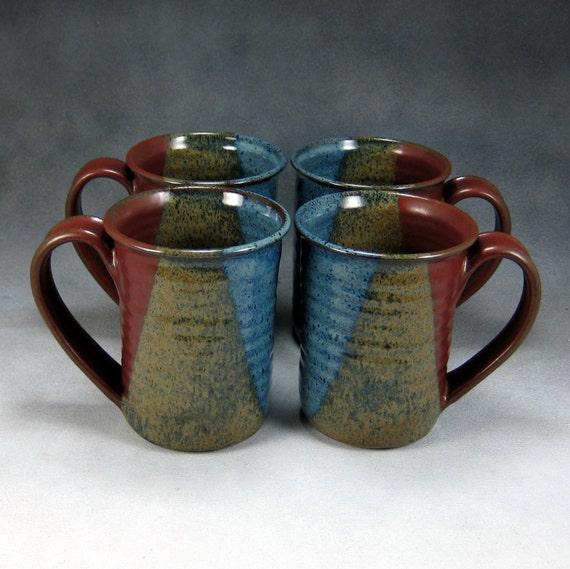 4 Blue and Red 14 16 Ounce Set Ceramic Coffee Mug Set Hand