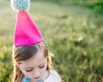 Felt Party Hat / Pom Pom Hat / Birthday Party Cone Hat / Cake Smash / First Birthday Party /  Hot Pink & Teal