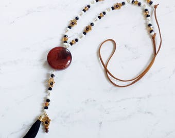 One-of-a-Kind Hamsa Long Beaded Necklace With Carnelian Stone and Black Tassel