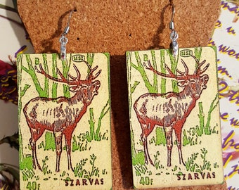 Deer Earrings handmade earrings laser cut wood earrings matchbook cover earrings animal earrings wood earrings