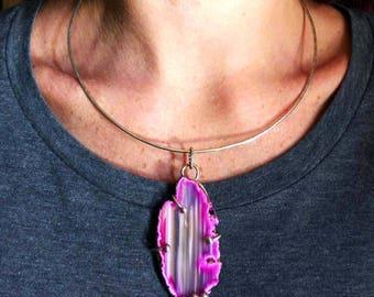 Pink Agate Pink Striped Geode Slice Necklace - Sterling Silver Pink Agate Gemstone Pendant Torque OOAK Artisan Necklace