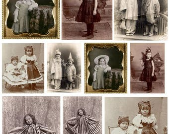 Vintage Kids in Costumes - 2 Digital Collage Sheets - Instant Download