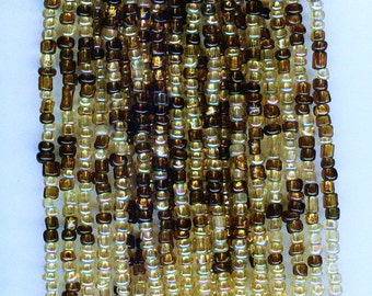 Earthy Brown & Gold Lined Mix Glass Seed Beads  10/0 1 hank