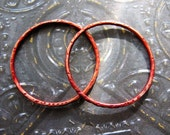 27mm Notched Copper Soldered Circles in Russet Red - 1 pair - 16 gauge Patina Links