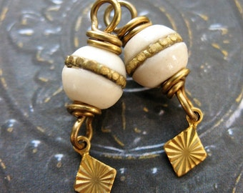 Brass Inlaid Bone and Vintage Brass Bead Charms - 1 pair - 25mm
