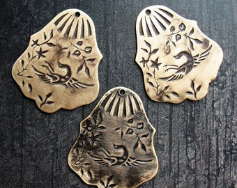 Vintage Brass Floral and Bird Pendants in Black Patina - set of 3