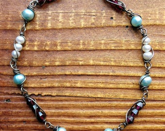 Garnet and Pearl Antiqued Sterling Bead Chain Segments - 2 pieces - 3.5 inches in length
