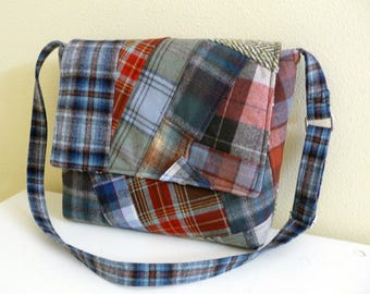 Patchwork Plaid Wool Messenger Bag Crossbody Purse, ready to ship