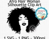 Afro Hairstyle Woman Silhouette | Women Cameo | African American Woman Silhouette | African Hairstyle Clip Art | Silouettes | Cameo Clip Art