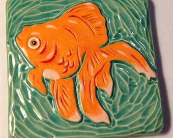 Fancy Goldfish Ceramic Art Tile