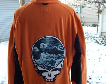 Mens Upcycled Zip Up Orange Fleece Jacket Grateful Dead SYF OOAK Size Large Hippie clothes,  guys jacket, mens fleece jacket