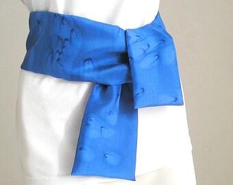 Cobalt Blue Tie Belt Scarf, French Blue Bleu de France, Hand Painted Scarf, Men Scarf, Hand Dyed Scarf, Unisex Blue Scarf, Unique, JOSSIANI