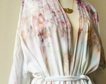 Hand Dyed Kimono Robe in Mother of Pearl, Tie Dye, Shibori, Rayon Bathrobe, Anna Joyce, Portland, OR.