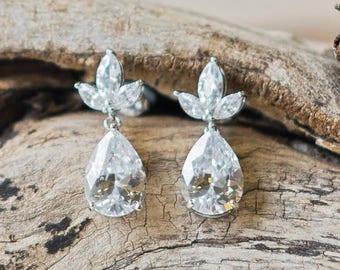 Crystal, Silver Teardrop Earrings, Jenna