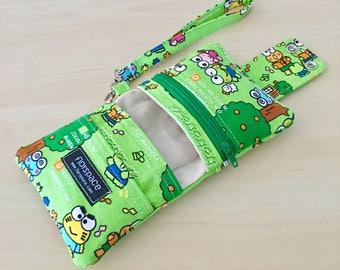 Keroppi Cube Wallet ---------- Double Snaps, 5 Pockets, Wrist Strap