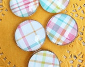 Set of Five Preppy Plaid Magnet Set, Glass Cabochon Magnets, Christmas, Stocking Stuffer, Birthday, Office, Housewarming Gift, Locker,Pastel
