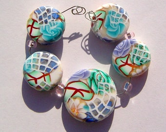 Blue Floral Window  Artisan Polymer Clay Bead Set with Focal and 4 Beads