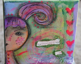 Whimsical Girl Purple hair painting Mixed Media Bright colors Canvas Sweetheart Love quote Inspirational for girls Gift Neon hearts Love Is