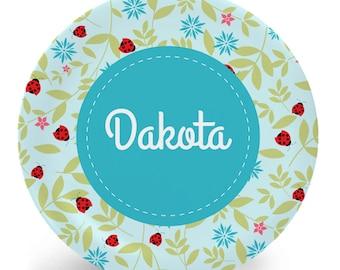 Ladybug Plate - Child's Plate - Child's Bowl - Melamine Bowl or Plate Personalized (Plastic) - Ladybug Garden