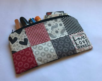 Black Red Grey Gold and Cream Patchwork Zipper Pouch - Patchwork Zipper Pouch Wristlet - Gadget Patchwork Pouch - Knitting Accessory Pouch
