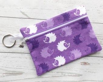 Hedgehog Cosmetic Bag - Hedgehog Lover Clutch Purse - Purple Hedgehog Bag - Hedgehog Purse - Hedgehog Make Up Bag - Hedgehog Lover Gift