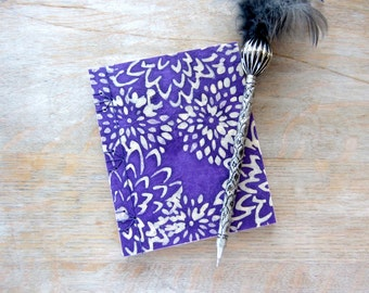 Softcover Small Sketchbook or Journal, 5.5x4.5 inches, Purple Batik Mums, unlined pages, Ready to Ship