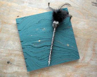 CUSTOM SIZE Guest Book or Journal in Teal Black Gold Marble