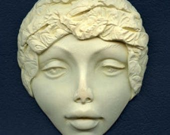 Polymer Clay One of a Kind 3 Inch x 3 Inch   Faux Ivory   Large Face with Clay Bonnet ILGF 6