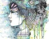 Sky Gypsy - Original Art Watercolor and Mixed Media Painting by Molly Harrison - Bohemian, Boho, Artwork, Art, Fantasy